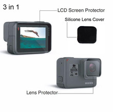 New! 3 in 1 Gopro hero 5 Accessories Screen Protector Silicone Lens Cap Cover Protecive Film For Go pro Hero 5 Gopro 5