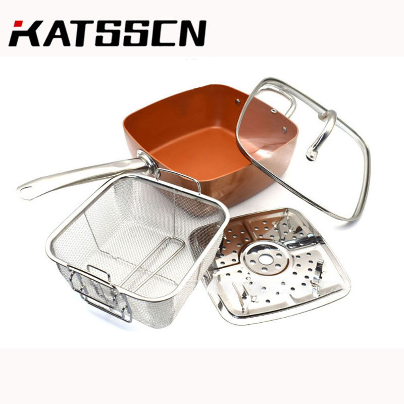 Red Copper Chef Nonstick Pan And Pot Kitchen Large Pot Set Four-piece Frying Pan With Glass Lid Halloween Chicken Cooking Pan