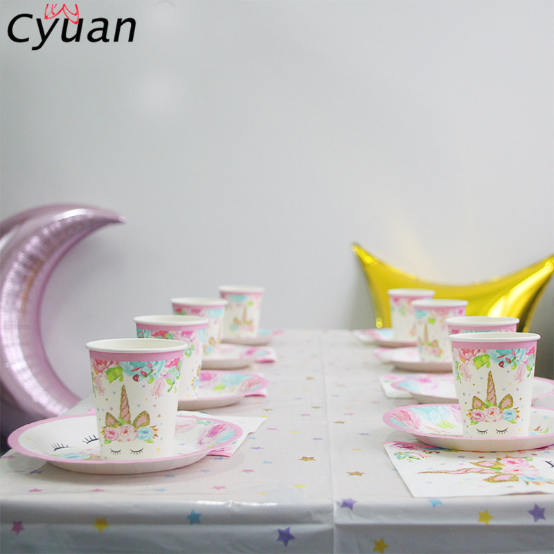 Cyuan Unicorn Party Disposable Tableware Set Kids Birthday Party Paper Cup Plate Hat 1st First Birthday Party Decor Supplies ...