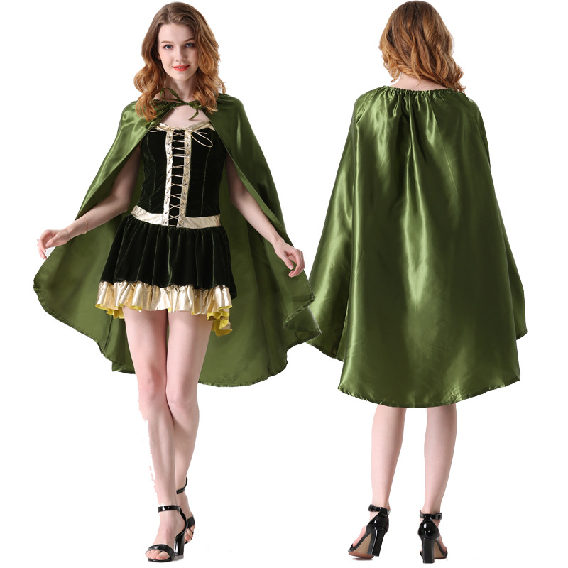 Femmes Cosplay Costume adulte Peter Pan forêt elfes verts Robin Halloween fête fantaisie carnaval mascarade scène Performance robe