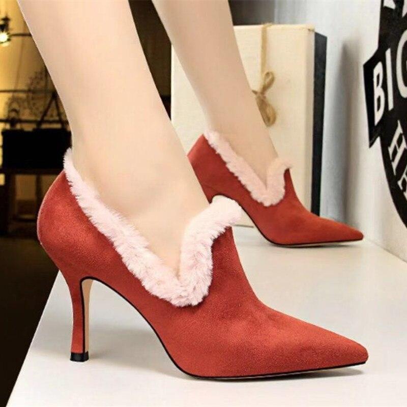 Caliente 2018 Finos Tacón Gamuza Mujer Con Sexy Zapatos Cuero De Alto azul  Tacones Negro Punta rojo Piel dCWCFw d3fedb712354