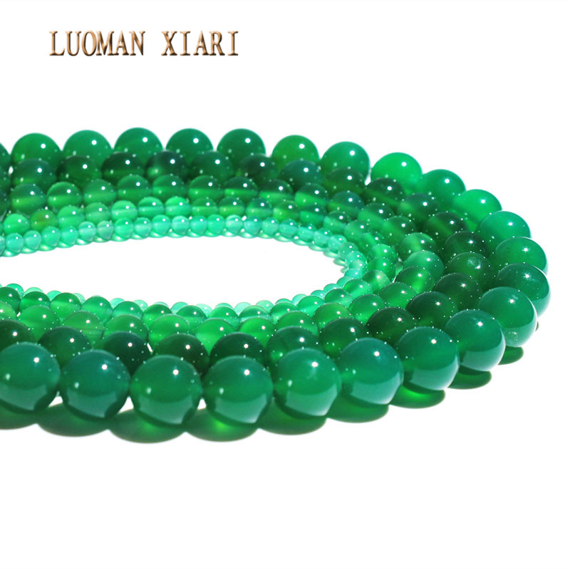 Wholesale Natural Stone Green Agat Beads Loose Round  DIY Bracelet Necklace For Jewelry Making Mix Strand 15'' 4/6/8/10/12 mm