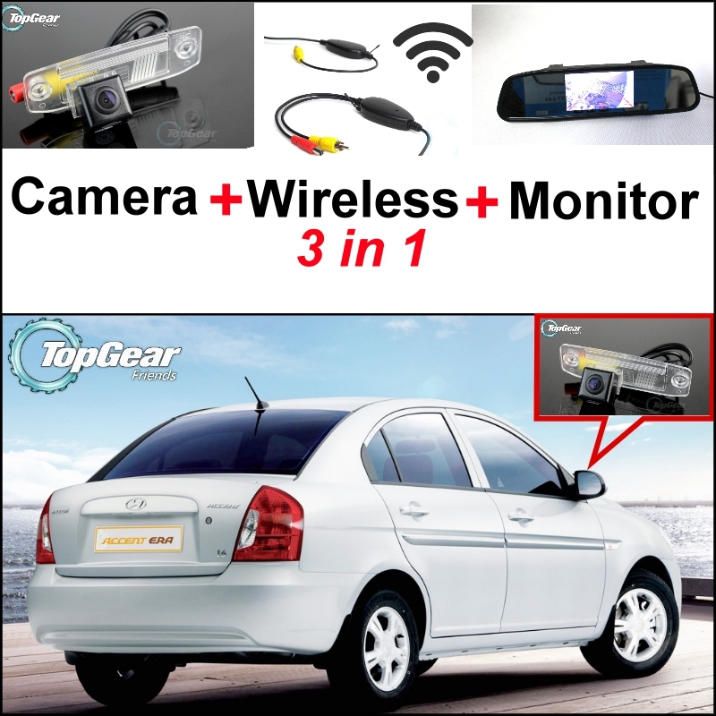 ФОТО 3 in1 Special Rear View Camera + Wireless Receiver + Mirror Monitor Easy DIY Back Up Parking System For Hyundai Accent MC