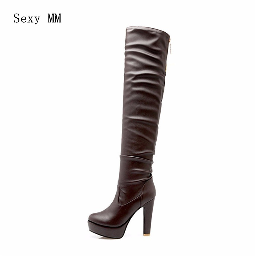 Autumn Winter Platform High Heels Women Over-the-Knee Boots Woman Thigh High Boots Ladies Shoes botas Plus Size 34-40.41.42.43