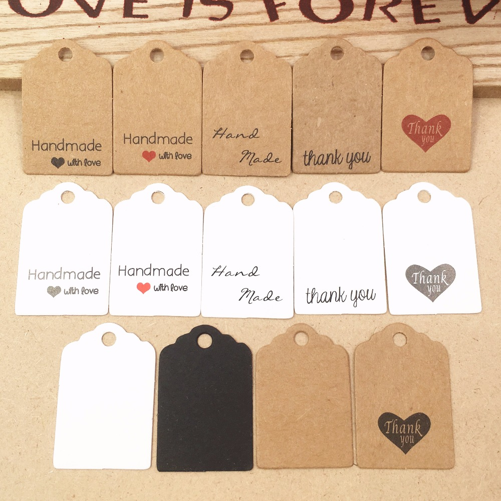 200pcs Kraft Paper Lovely Gift Tags DIY Handmade Price Tags/Baking Bags Packing Labels For Flower/Cosmetics/Jewelry/bottle/Drink