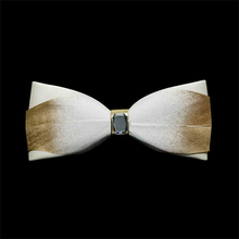 Golden Feather bow tie Pu cortex butterfly ties Accessory wedding party business for men neckties Neck Ties luxe homme