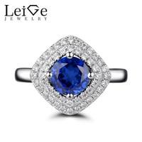 Leige monili blue sapphire anello doppio halo argento 925 taglio rotondo della pietra preziosa promessa anelli di fidanzamento per le donne gioielleria raffinata