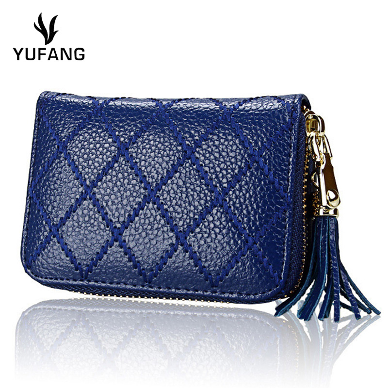 YUFANG Business Card Pocket Genuine Leather Ladies Credit