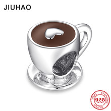 New Fashion 925 Sterling Silver Love Free time Heart Coffee Cup Beads Fits Original Pandora Charms Bracelet Bangles DIY Jewelry(China)