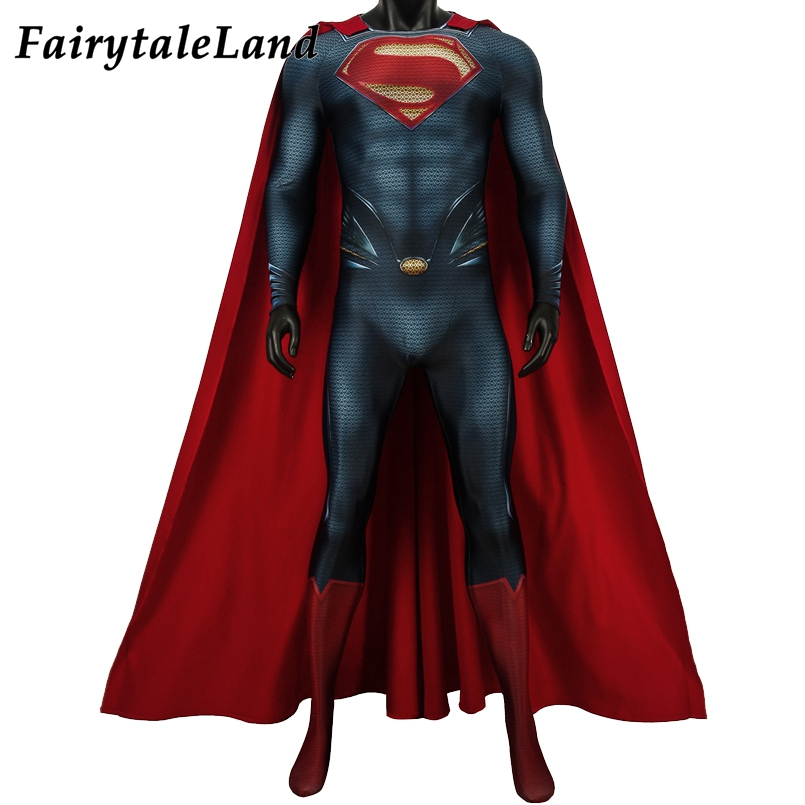 Newest Movie Superman Man Of Steel 2 Superman Cosplay Costume Halloween Costume Superhero Superman Clark Kent Jumpsuit Outfit