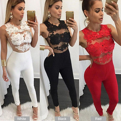Hirigin Women Ladies Clubwear Playsuit Bodycon Party Sleeveless O-Neck Sexy Jumpsuit Romper Trousers 4