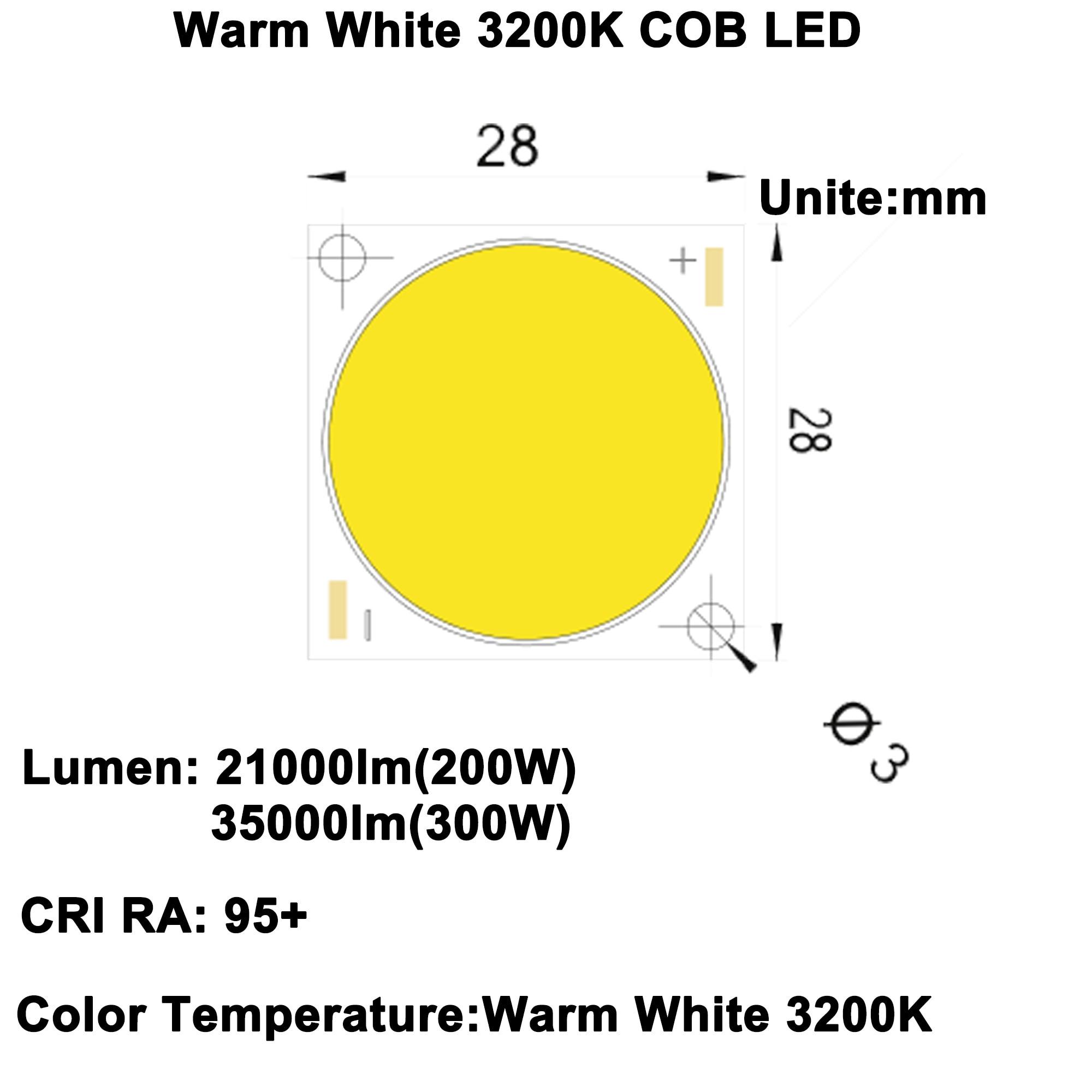 High CRI RA 95+ High Power Density Citizen LED Chip 300W COB LED Warm White 3200K DC47.8 56.2V 5750mA 30000lm 35000lm LED Spotlights     - title=