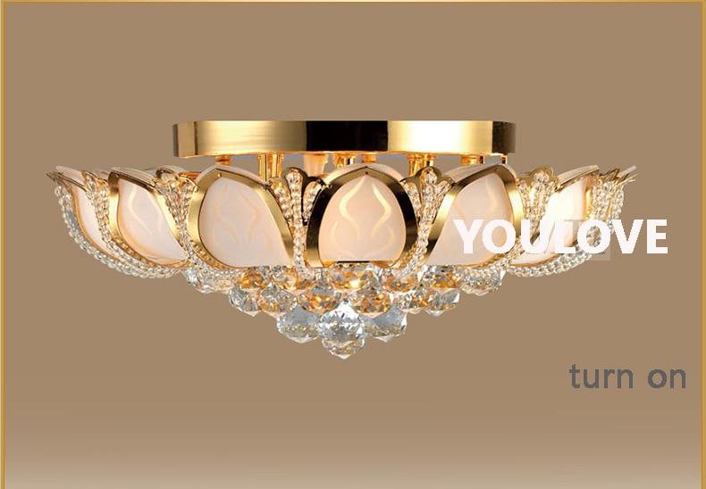Led fiore di loto di cristallo dell oro apparecchio plafoniere
