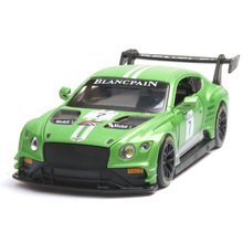 1:32 Bentley GT3 Sound and light belt pull-back vehicle simulation alloy car model crafts decoration collection toy tools