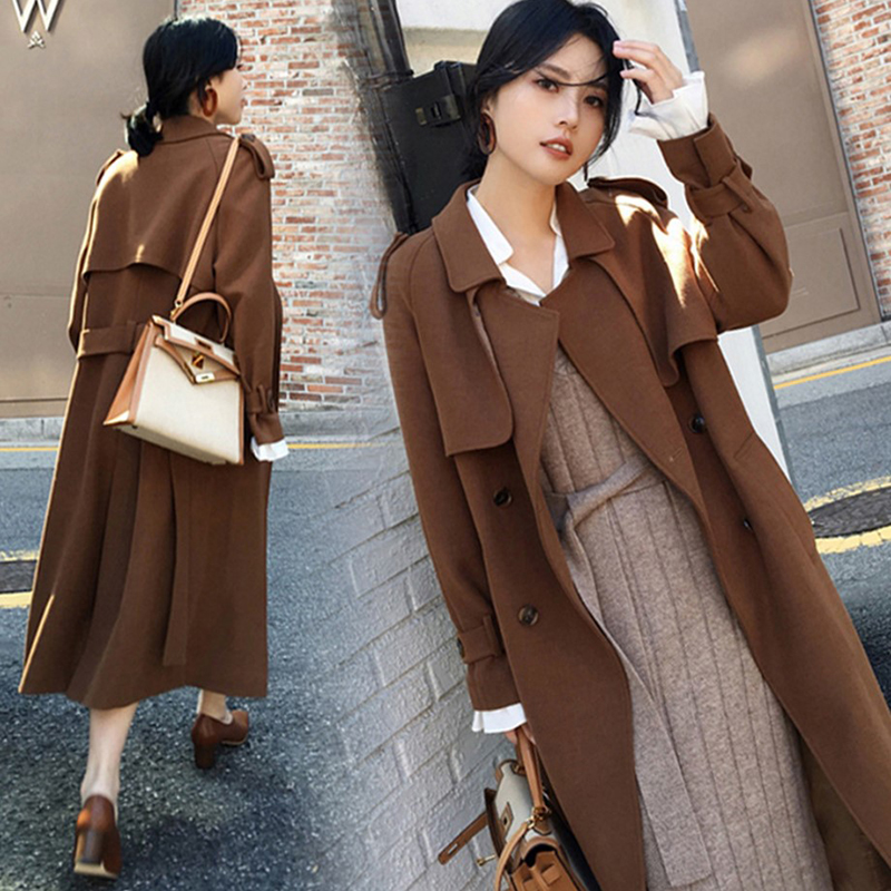 Col Breasted Nouvelle Black Automne Turn Moyen Mode Manteaux Double Trenchs Casual Coupe brown 2018 T228 Tranchée Femmes Lâche green vent Long Down Bf4qwwg