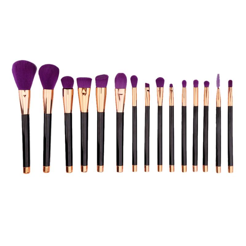 15Pcs Solid Makeup Brushes Set Professional Set Make Up Tools Kit Powder Blending Shadow Cosmetic Beauty Brush Purple hair hot sale 2016 soft beauty woolen 24 pcs cosmetic kit makeup brush set tools make up make up brush with case drop shipping 31