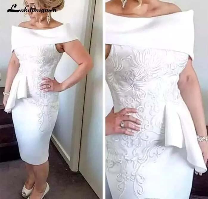 Большие размеры, новинка 2019 года, белое кружевное платье футляр для матери невесты, платья с открытыми плечами для матери жениха, вечерние п