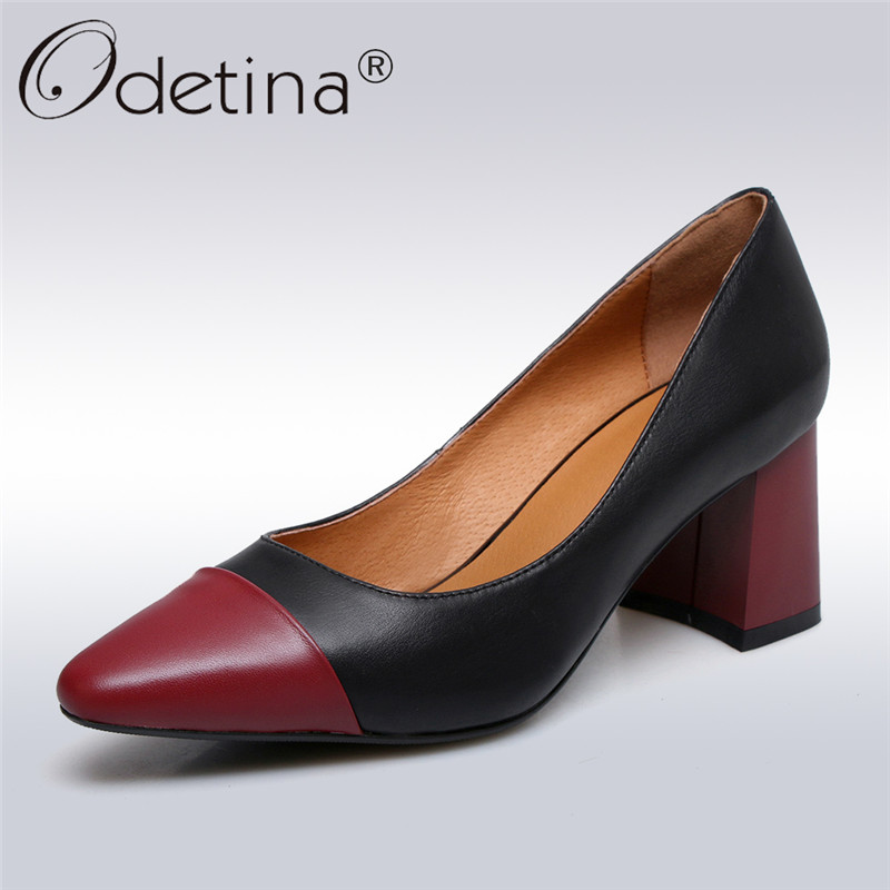 Odetina 2018 New Fashion Genuine Leather Pumps Square High Heels Women Shoes Pointed Toe Pumps Slip On Female Shoes Big Size 42 krazing pot shallow fashion brand shoes genuine leather slip on pointed toe preppy office lady thick high heels women pumps l18