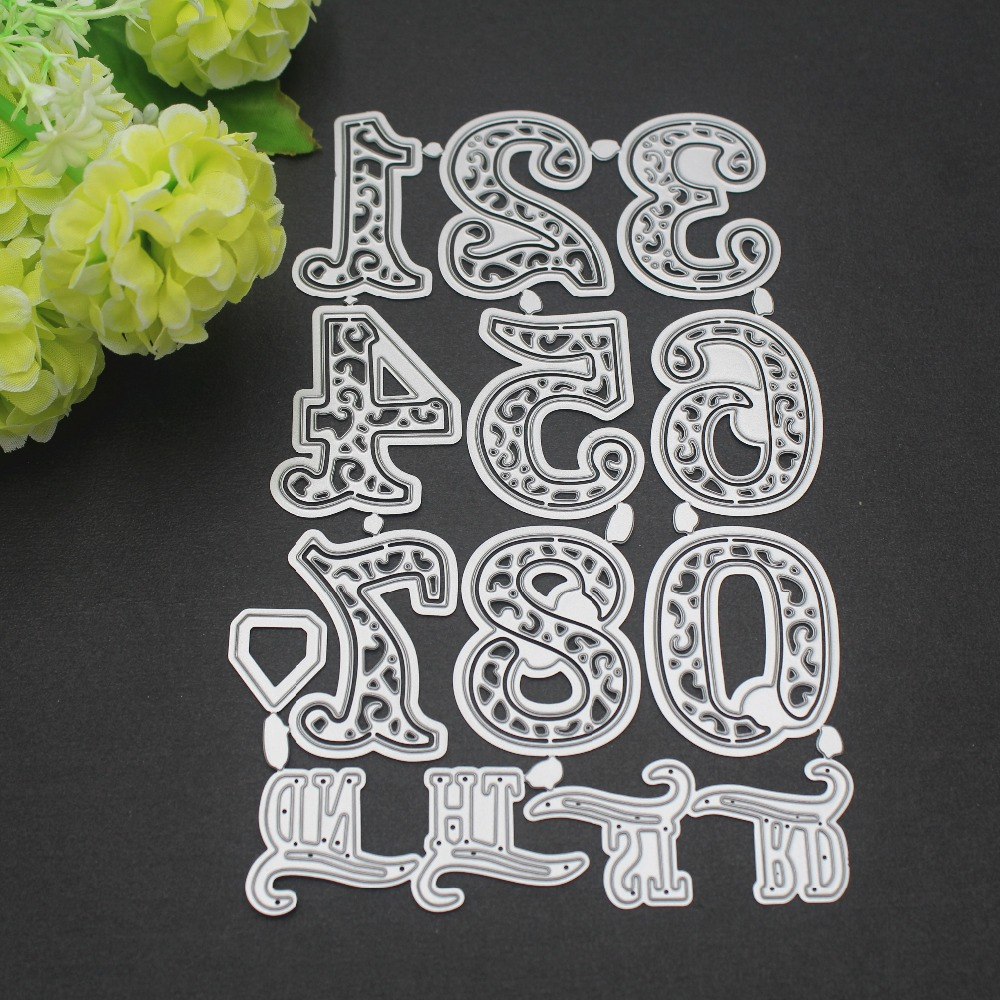 0 9 Lace Numbers Digits Metal Cutting Dies Stencils For DIY Scrapbooking Words Photo Album Decorative Embossing DIY Paper Card in Cutting Dies from Home Garden