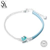 SA SILVERAGE 2018 Vrouwen Blauw Edelsteen Bohemen Armbanden Wedding Hart Fijne Sieraden Echte 925 Sterling Zilveren Armbanden voor Vrouwen