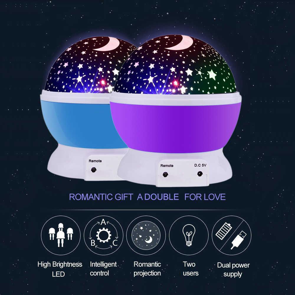 Led girando estrela projetor usb cabo novidade iluminação lua céu rotação berçário luz da noite crianças remoto lâmpada do bebê lua bola