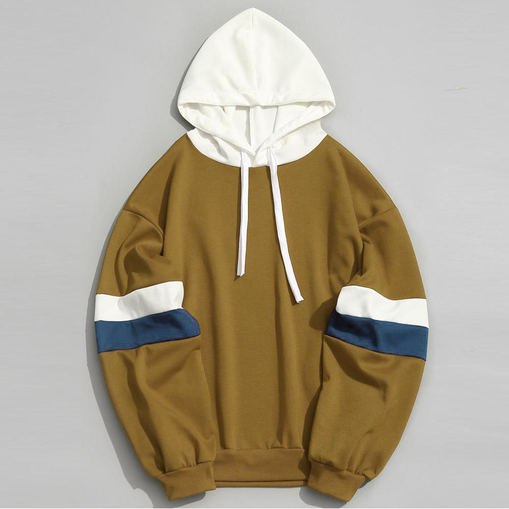 Topdudes.com - Casual Patchwork Parallel Bars Slim Hoodie Jacket