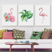 Bianche Wall Watercolor Green Plant Leaves and Flamingo A4 Canvas Painting Print Poster Picture Art Bedroom Home Decorative