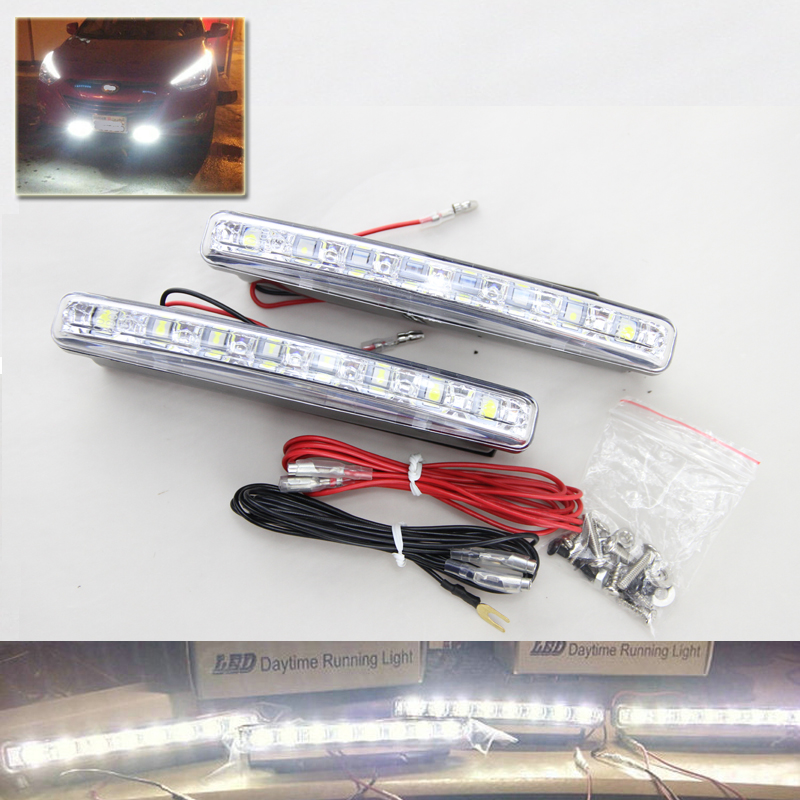 2PCS Xenon White LED Car Auto DRL Parking Driving Daytime Running Lamp Fog Light Head Lamp 8 LED DRL Daylight Kit Super White 1 pair super bright 18w blue led eagle eye hawkeye car headlight drl daytime running light driving fog daylight safety head lamp