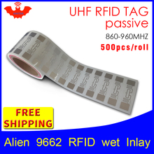 RFID tag UHF sticker Alien 9662 EPC6C wet inlay 915mhz868mhz Higgs3 500pcs free shipping long range adhesive passive label