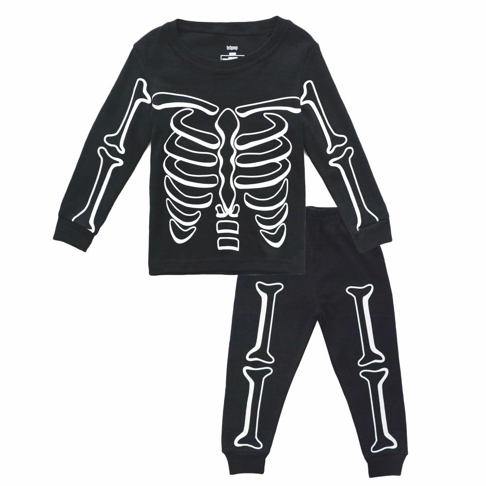 BINIDUCKLING Baby Boy Sleepwear Pajama Sets Luminous Skull Cotton Long Sleeve T Shirt Pants For Kids