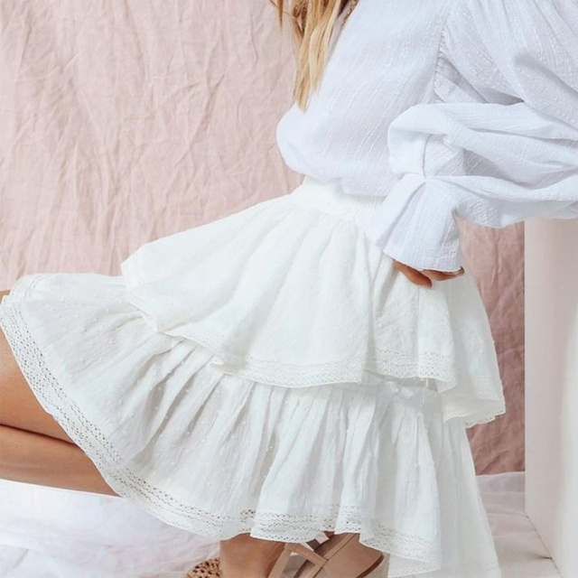 Women's High Waist A-Line Mini Skirt Summer Women Elegant White Skirts 2021 Summer Casual Lace Splice Short Holiday Short Skirt 1