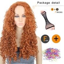 3011 Xi.rocks Anime Movie Brave Princess Merida Cosplay Orange Wig Curly Role Play Wig Halloween synthetic Long Hair new women princess rapunzel wig halloween role play tangled gold long wig
