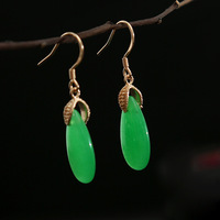 needle dongling, natural fashion simple grass green earrings ears hang wholesale court wind restoring ancient ways