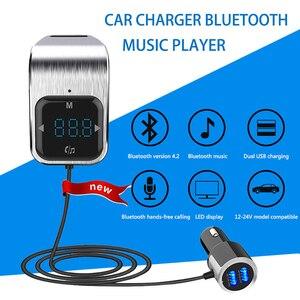 Image 2 - Trasmettitore FM Del Telefono a mani libere di trasporto Tasto di Tocco Auto MP3 LED Bluetooth Car Kit Vivavoce Lettore MP3 Radio Adattatore USB caricabatteria Da auto
