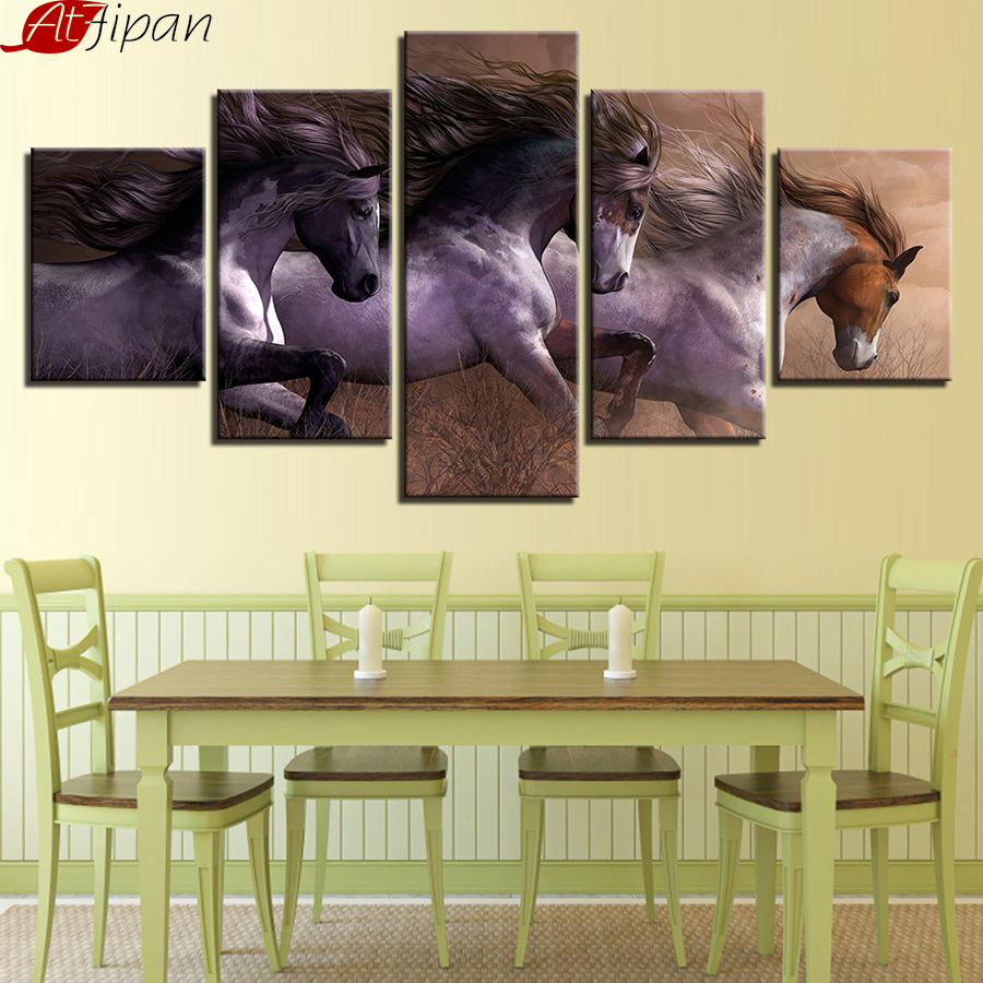 AtFipan Canvas Painting Living Room Wall Art Modular HD Prints Pictures 5 Pieces Animal Horses Race Posters Home Decor Framework