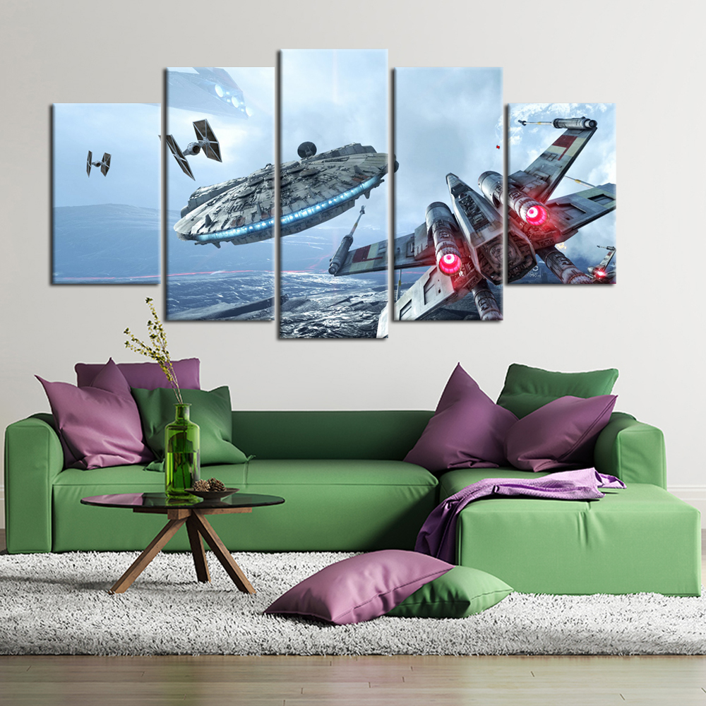 5 Panels HD Pritned Modern Star Wars Canvas Painting Battlefront Fighter Jets Wall Picture for Living Room image