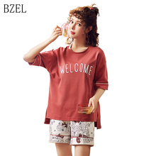 BZEL New 2 Pcs Suit Sweet Girls Summer Short Sleeve Sleepwea