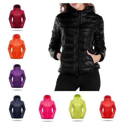 Women Hooded   Down     Coat   Ultra Light Winter Short Style Slim Zipper   Coats   Long Sleeve Duck   Down   Jackets Plus Size Women