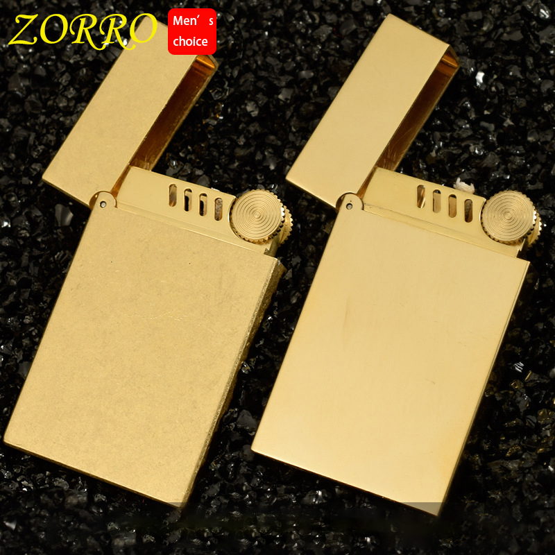Zorro Lighter Brass Ping Sound Lighter Gasoline Petrol Oil Refillable Cigarette Kerosene Lighter Grinding Wheels Fire