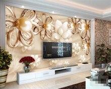beibehang Custom wallpaper 3d luxury gold pearl flower upscale living room bedroom background wall papel de parede