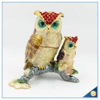 Free Shipping Owl Mommy and Baby Trinket Box Jeweled Pill Box Decorative Animal Rhinestone Display Statue