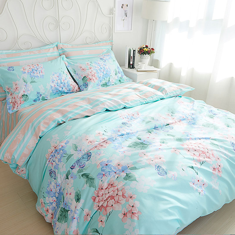 floral print cotton 4 piece bed set queen size duvet cover twin sheets bedspread bed set free. Black Bedroom Furniture Sets. Home Design Ideas