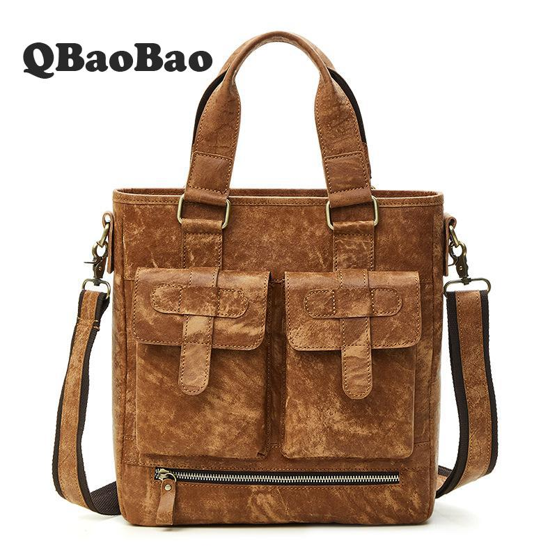 High Quality Travel Bag Real Leather Men Briefcase Large Capacity Men Business Handbag Gentleman Male Messenger Bag high quality authentic famous polo golf double clothing bag men travel golf shoes bag custom handbag large capacity45 26 34 cm