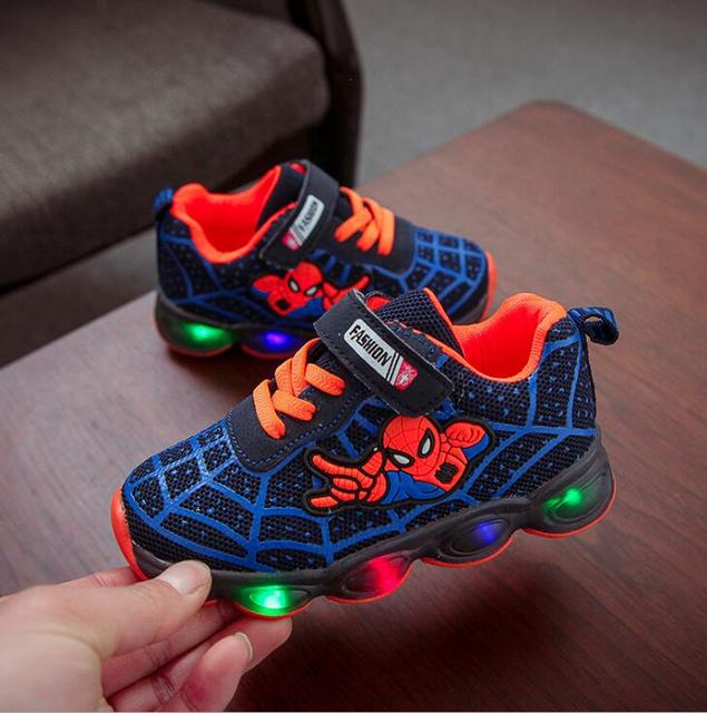 Led luminous Spiderman Kids Shoes for boys girls Light Children Luminous baby Sneakers mesh sport Boy Girl Led Light Shoes