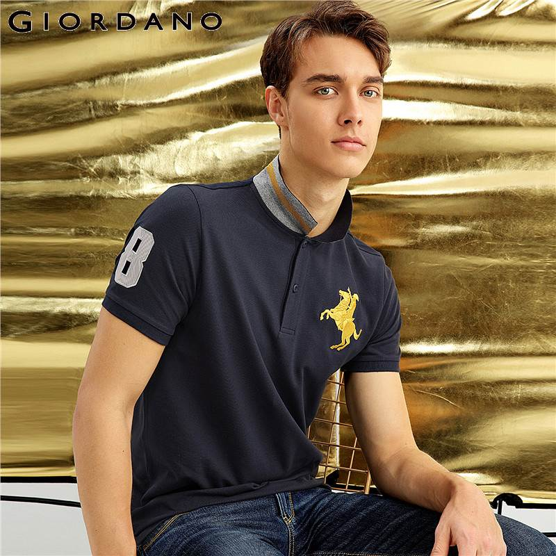 Giordano Men Pique Polo Napoleon Embroidery Polo Shirt Men Brand Man's Clothing Polos Shirt For Men Short Sleeves