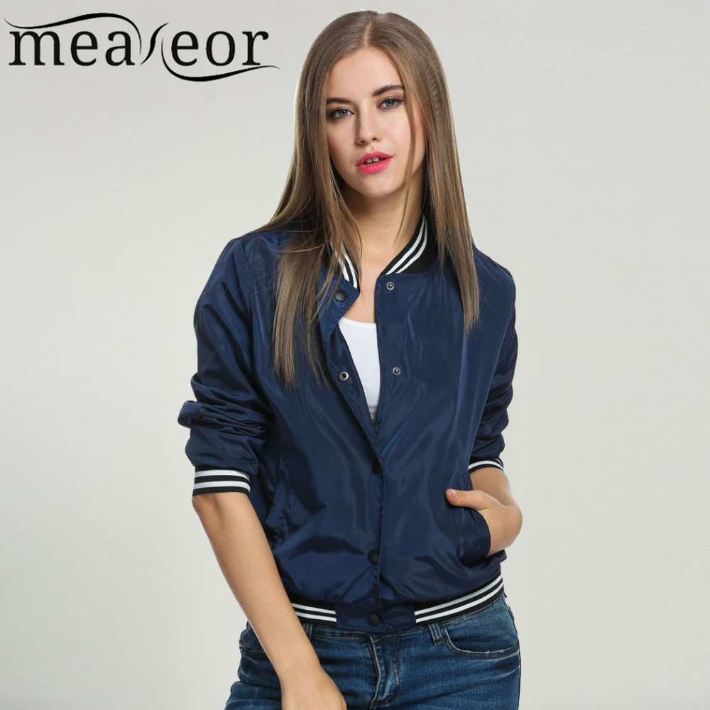 Meaneor Women Bomber Jacket Casual Jacket Coat 2018 Spring Windbreaker Tops Stand Collar Baseball Jackets Slim Zipper Coats