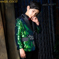 5PCS/SET Boys Suits For Weddings Green Double Sided Sequin Boy Suit For Kids Prom Suits Costume Garcon Boys Clothing Blazer 2019
