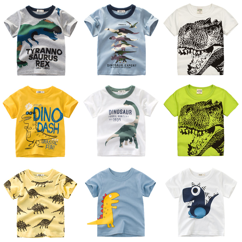 Boys & Girls Cartoon T-shirts Kids Dinosaur Print T Shirt For Boys Children Summer Short Sleeve T-shirt Cotton Tops Clothing(China)