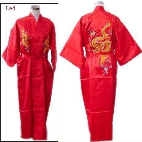 Hot Sale Red Chinese Men's Silk Satin Robe Embroidery Dragon Kimono Bath Gown SIZE M L XL XXL 3XL S0103-1