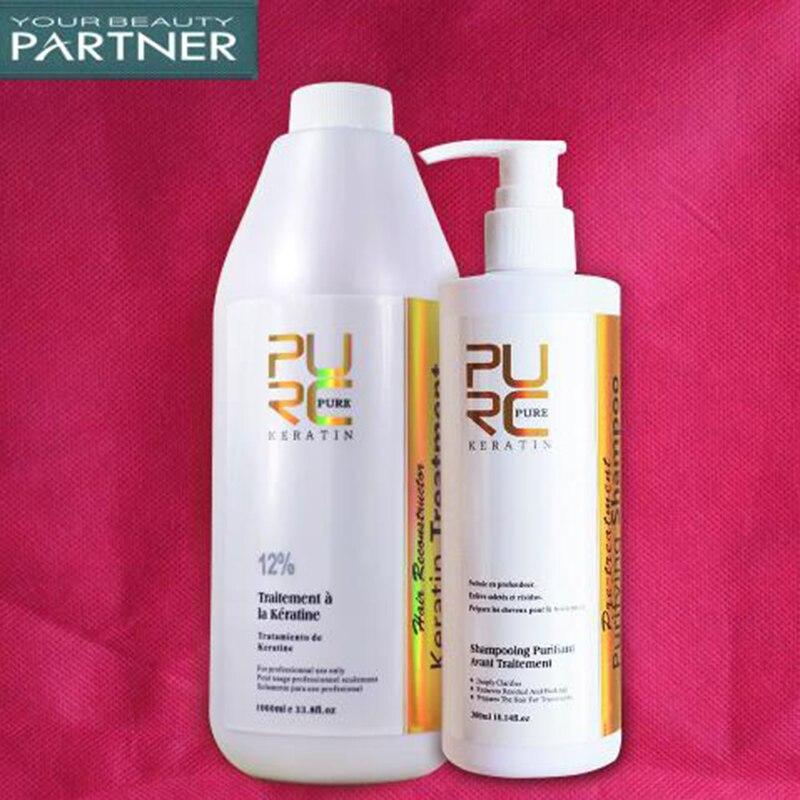 PURC 1000 ML chocolat brésilien traitement à la kératine 12% et 300 ml shampooing purifiant soin des cheveux